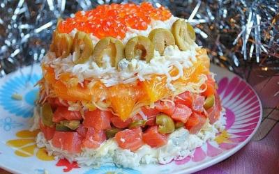 салат с красной рыбой и апельсином