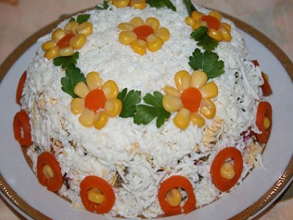 Интересное и необычное оформление салатов 16