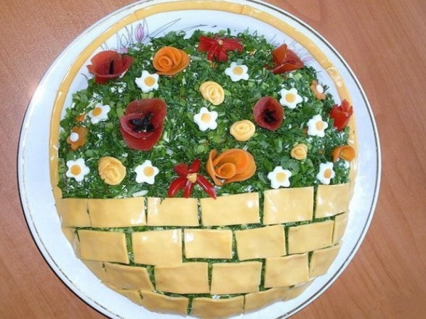 Интересное и необычное оформление салатов 17