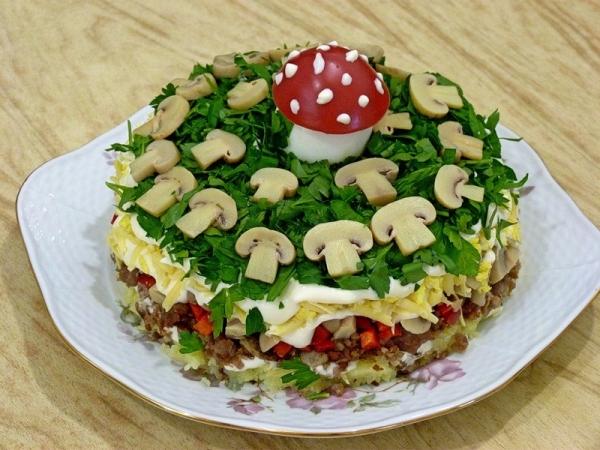 Интересное и необычное оформление салатов 13