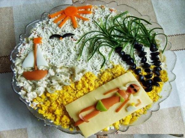 Интересное и необычное оформление салатов 6