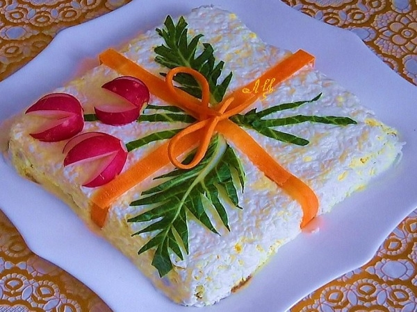 Интересное и необычное оформление салатов 8