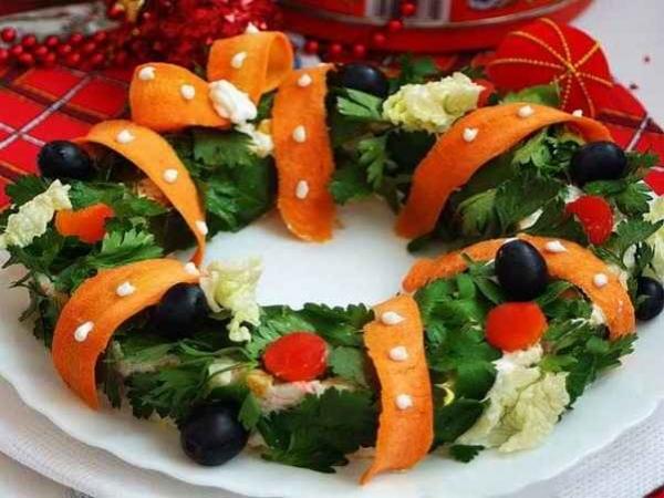 Интересное и необычное оформление салатов 7