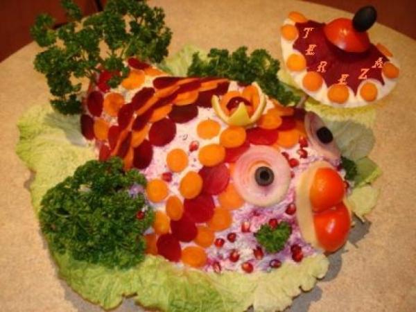Интересное и необычное оформление салатов 26