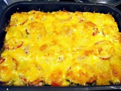 Спагетти с сыром и курицей в духовке