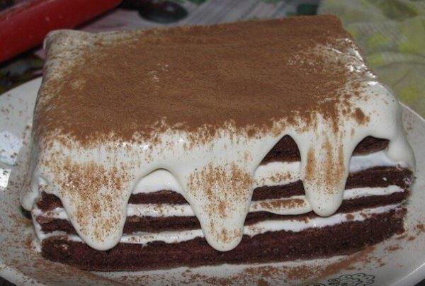 Низкокалорийный шоколадно - творожный торт