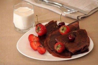 Шоколадные блинчики на молоке