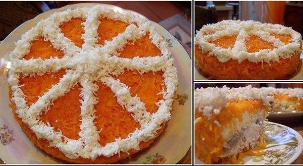 """Слоеный салат """"Долька апельсина"""""""