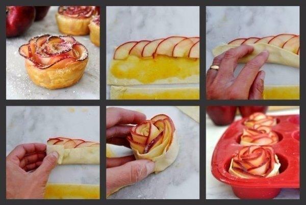 """Десерт из яблок """"Розы"""""""