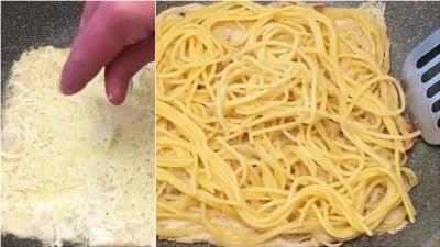 Рулет из спагетти с начинкой