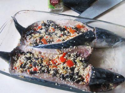 Скумбрия фаршированная овощами и кус-кусом 6