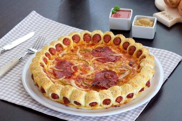 Оригинальная пицца с сосисками 1