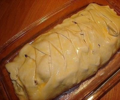 Быстрый мясной пирог с грибами 5