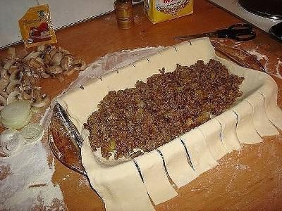 Быстрый мясной пирог с грибами 2