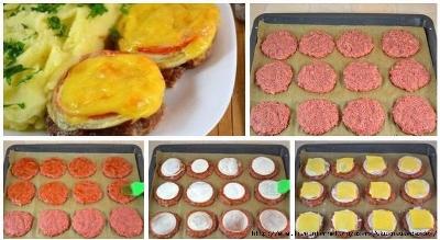 Котлеты в духовке с овощами и сыром 2