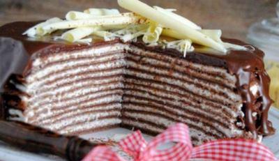 Шоколадный блинный торт с творожным кремом 3