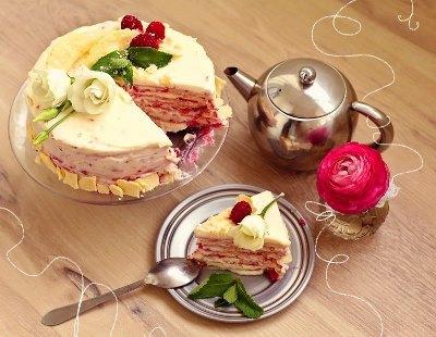 Торт Наполеон с малиной 2