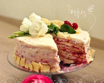 Торт Наполеон с малиной 7