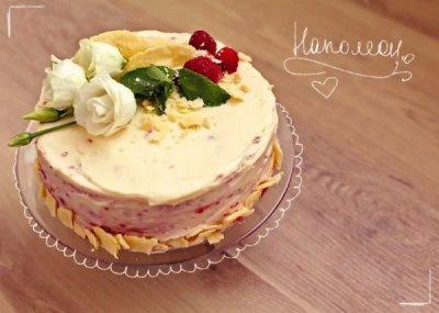Торт Наполеон с малиной 8