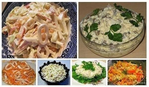 6 рецептов салатов с кальмарами