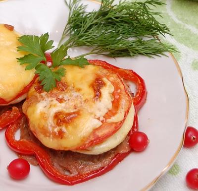 Котлеты в духовке с овощами и сыром 3