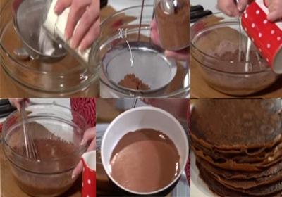 Шоколадный блинный торт с творожным кремом 2