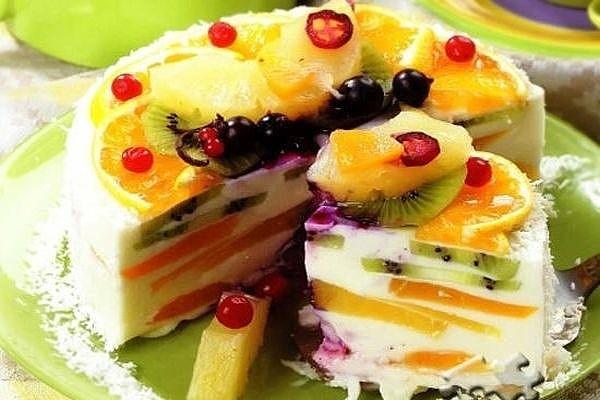 Желейный торт с фруктами без выпечки фото